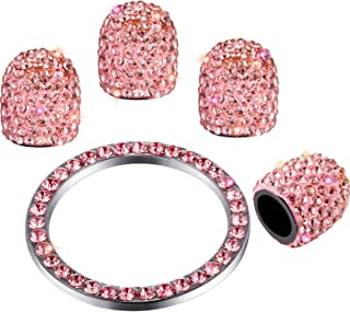 Valve Stem Caps 4 Pack Handmade Crystal Rhinestone Universal Tire Valve Dust Caps Bling Car Accessories with 1 Piece Ring Emblem Sticker for Auto Start Engine Ignition Button Key and Knobs (Pink)