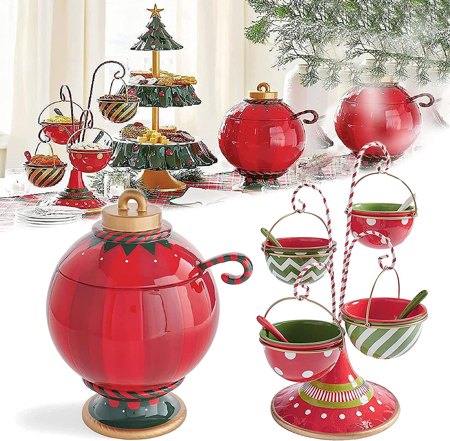 KCRPM Be Merry Snack Bowl Stand, Christmas Snack Serving Stand, Whimsical Style for Buffet or Table Four Bowls Snack Stand, Dessert Stands Fruit Plates for Christmas Halloween Party Decorations (A+B) : Home & Kitchen