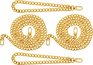 4 Pieces Purse Chain Strap Replacement DIY Iron Flat Chain Strap Handbag Chains Accessories Purse Straps Shoulder Cross Body Replacement Straps, 47 Inch and 8 Inch Long (9 mm Width Gold)