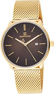 Naviforce Men's Black Dial Stainless Steel Mesh Analogue Classic Watch - NF3012G-GB