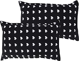 Airwill 100% Cotton Printed Pattern Flap Pillow Covers (46x69cm)(Black, White , Pack of 2 Pieces)