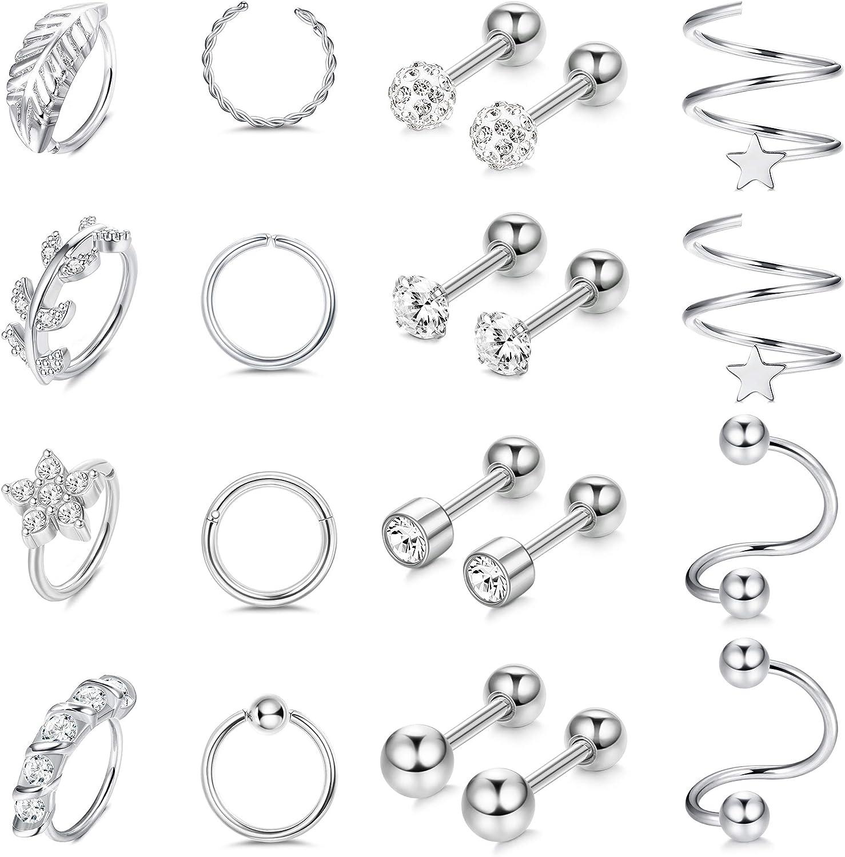 LOLIAS 20Pcs Cartilage Earrings for Women Stainless Steel Helix Earring Hoop Rook Daith Conch Tragus Stud Earrings Body Piercing Jewelry Set