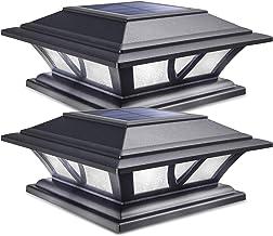 Siedinlar Solar Post Lights Outdoor 2 Modes LED Deck Fence Cap Light for 4x4 5x5 6x6 Posts Patio Garden Decoration Warm Wh...