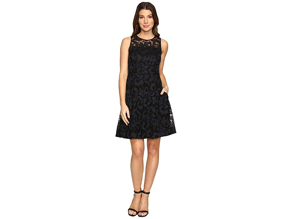 Donna Morgan Sleeveless Fit and Flare with Full Skirt (Black/Marine) Women