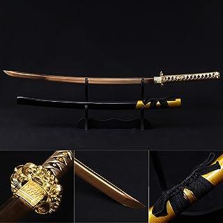 Katana Sword, Fully Handmade Real Japanese Sword High Carbon Steel Samurai Sword with Wooden Scabbard Alloy Guard