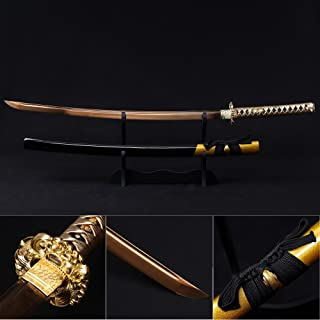 Katana Sword, Fully Handmade Real Japanese Sword High Carbon Steel Samurai Sword with Wooden Scabbard Alloy Guard