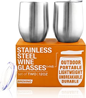 Stainless Steel Wine Glasses with Lid - 12 oz Double Wall Insulated Outdoor Wine Tumblers - 100% Unbreakable & Stemless Glass - Wine Tumbler Set for Outdoor : Wine, Coffee & Camping (2)