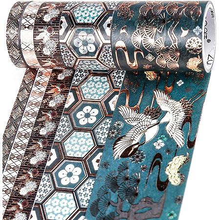 PuTwo Washi Tape, Masking Tape 5 Rouleaux, 8mm/10mm/30mm/50mm Ruban Adhésif Décoratif, Washi Tape Japonais en Washi, Ruban Adhésif en Washi pour Journal, Ruban Adhésif Décoratif pour Artisanat
