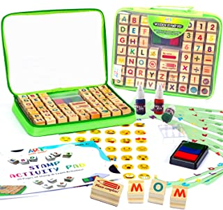 Wooden Stamp Set for Kids with Alphabet Stamps and Carry Case 72 Pcs – Letters, Numbers, Emojis, 3-Color Washable Ink Pad,...