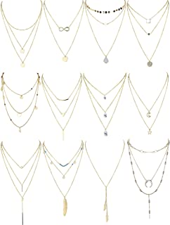 Finrezio 12 PCS Gold Tone Layered Necklace for Women Girls Sexy Long Choker Chain Y Necklace Bar Feather Pendent Necklace Sets