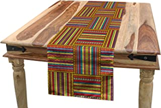 Ambesonne African Table Runner, Borders Pattern Old Fashioned Culture Theme Colorful Print, Dining Room Kitchen Rectangular Runner, 16