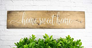 Dark Walnut Home Sweet Home Wood Sign Sayings - Farmhouse Family Wood Rustic Wall Decor - Housewarming Gift