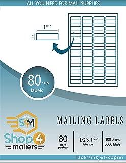 Shop4Mailers 80-Up 白色发货标签 1.27 cm x 4.45 cm 1000 Sheets 白色