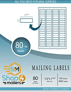 Shop4Mailers 80-Up White Shipping Labels 1/2