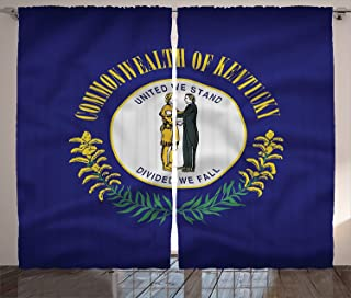 Ambesonne American Curtains, Kentucky Flag United We Stand; Divided We Fall Pioneer and Statesman, Living Room Bedroom Window Drapes 2 Panel Set, 108