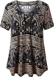 745c53a0 FOLUNSI Women's Plus Size Short Sleeve V Neck Swing Floral Tunic Tops