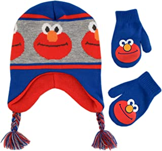 Toddler Boy's Elmo Character Hat and Mittens Cold Weather Set Accessory, blue/grey/orange, Age 2-4
