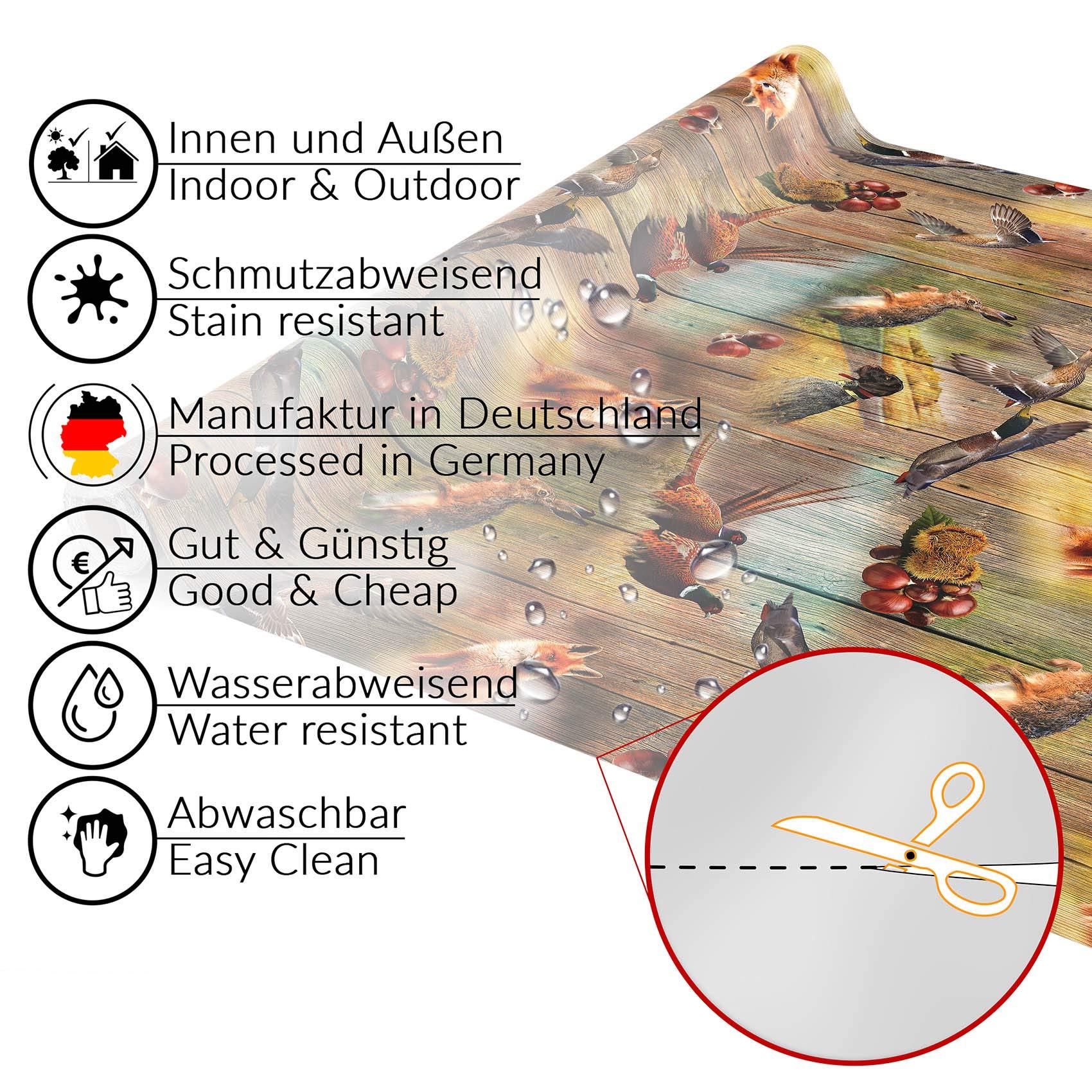 Anro - Mantel de hule lavable, para mesa, 95% PVC, 5% poliéster., Diseño de caza de madera., Oval 140 x 240cm Schnittkante: Amazon.es: Hogar