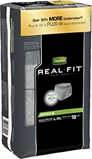 Depend Real Fit Incontinence Briefs for Men, Maximum Absorbency, L/XL, 18 Count