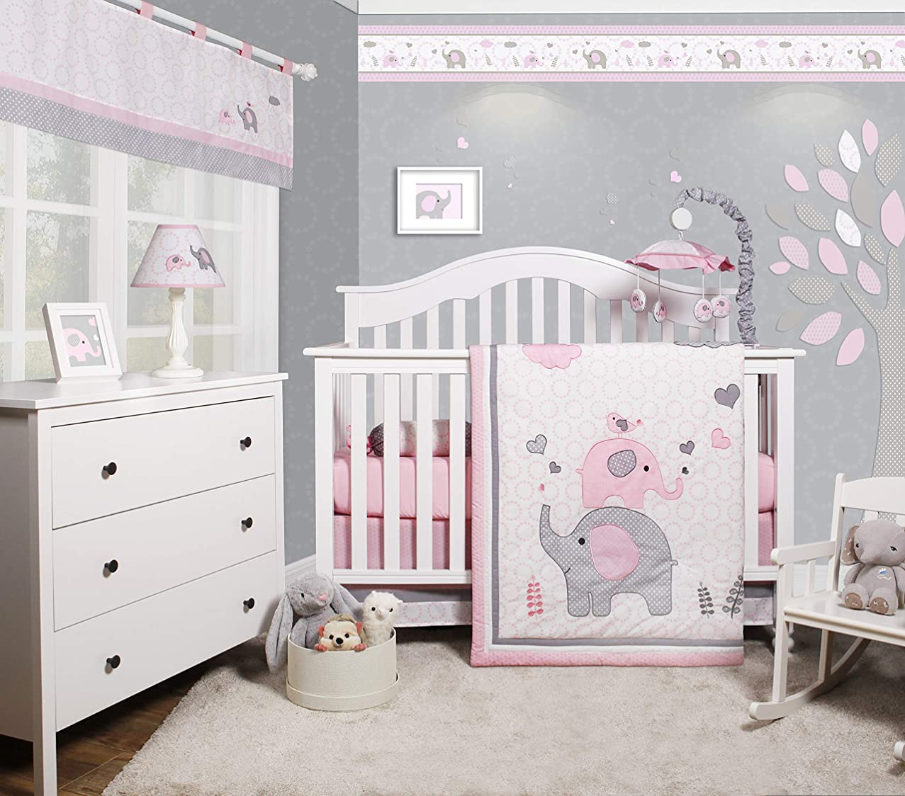 OurBabies Pink Grey Elephant 6 Piece Baby Girl Nursery Crib Bedding Set