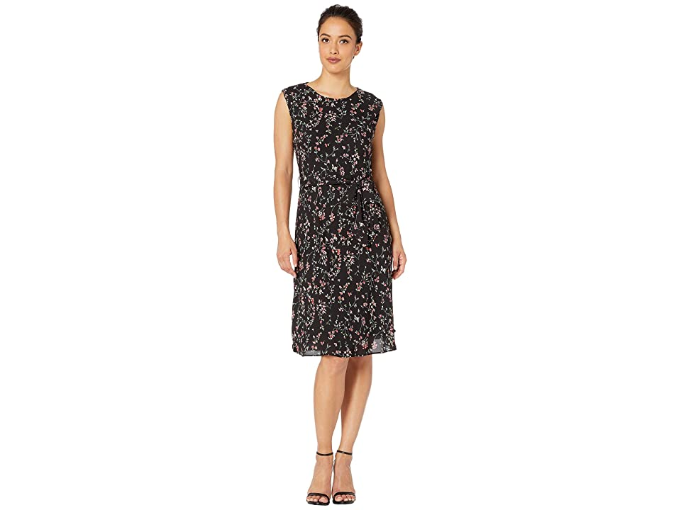 LAUREN Ralph Lauren Petite Print Fit-and-Flare Dress (Polo Black Multi) Women