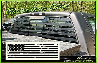 American Flag Pick-Up Truck Back Window Decal Universal for RAM F150 Silverado (Matte Black)