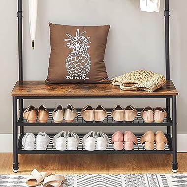 "VASAGLE ALINRU Coat Rack, Entryway Shoe Bench Stand Storage Shelves Accent Furniture Steel Frame, Industrial, 39.4"", Rustic B"