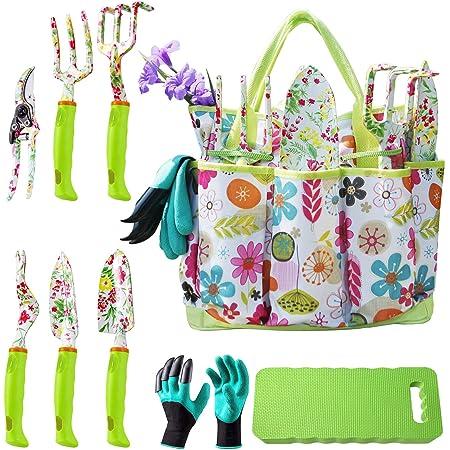 NAYE Garden Tool Set,Cute Gardening Gifts for Women,Heavy Duty Tool Kit with Gardening Gloves,Garden Tote,Kneeling Pad,Hand Pruner,Trowel,Hand Rake,Weeder,Fork,Transplanter