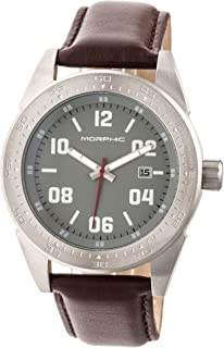 M63 Series Leather-Band Watch w/Date - Silver/Grey/Brown
