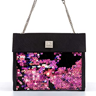 Unique Black Glitter Shoulder Bag, Trendy Fire Red Sequin Handbag for Women, Sparkly New Year's Eve Party Purse with Chain