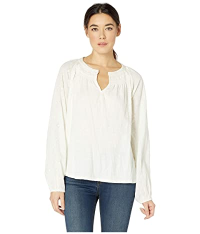 Lucky Brand Embroidered Peasant Top (Marshmallow) Women