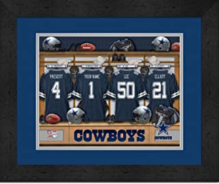 Personalized NFL Football Locker Room Jersey Framed Art Print 14x18 Inches