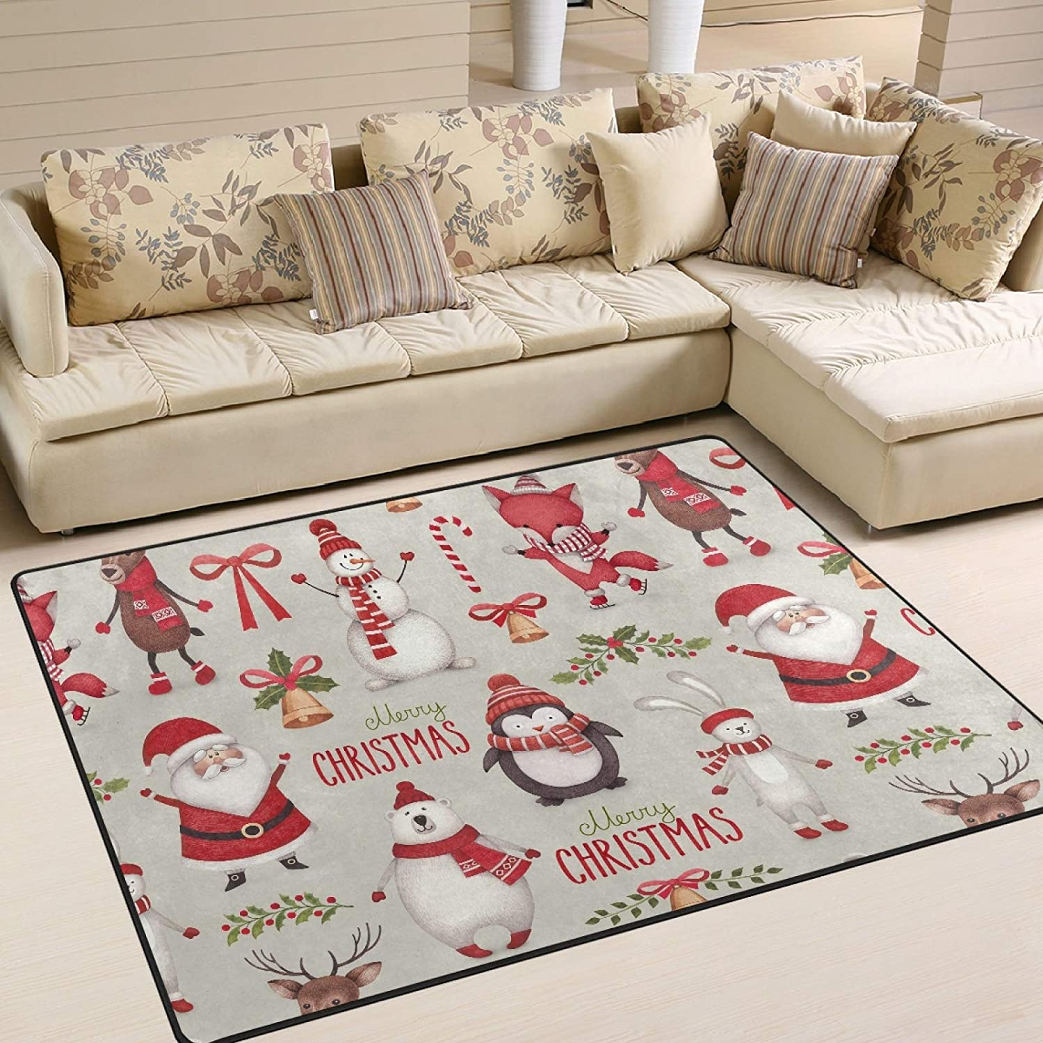 Area Rug Max 78% OFF Year-end gift Christmas Santa Claus Reindeer Slip Non Room Living Car