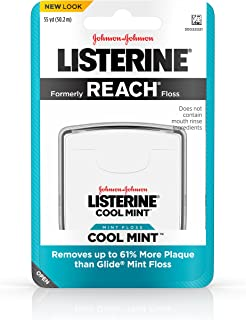 Listerine Cool Mint Interdental Floss for a Cleaner, Healthier Mouth, Oral Care, 55 Yards (Pack of 6)