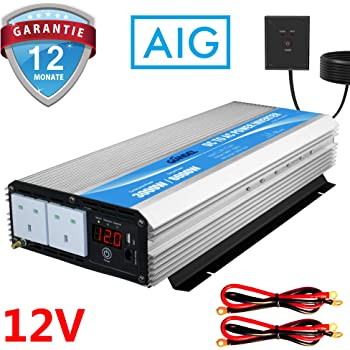 FlowerW Power Inverter Pure Sine Wave-2500W DC 24V To AC 230V//240V AC Converter-2AC Outlets Car Inverter LCD Display with Two Cooling Fans-Peak Power 5000 Watt
