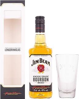 Jim Beam Kentucky Straight Bourbon Whiskey mit Geschenkverpackung mit Glas 1 x 0.7 l