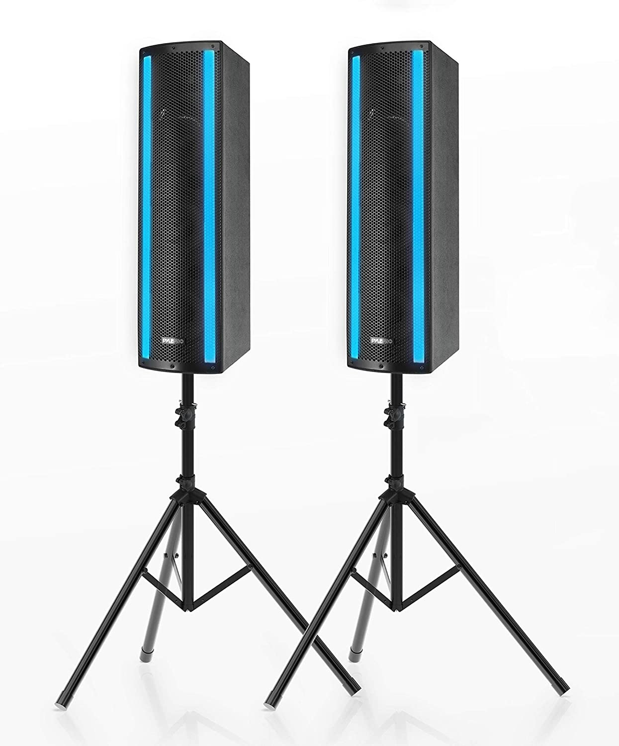 Portable Bluetooth PA Speaker System - 3-Way Active & Passive Outdoor Bluetooth Speaker Portable PA System w/Microphone in, Party Lights, USB SD Card Reader, FM Radio - Tripod, Remote - Pyle PS65ACT