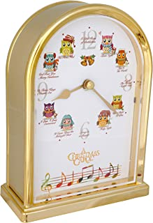 JUSTIME Christmas Owls 12 Song of Christmas Carols Table Mantel Clock Home Deco, Great for Gift (Brushed Gold)