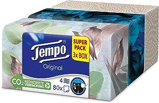 Tempo zakdoeken Original Trio-Box, 4-laags tempo in praktische doekenbox met leuk design, 3 x 80 doeken (240 doekjes)