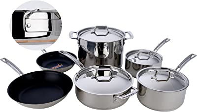 MIU France 10-Piece Copper Core Cookware Set, Silver
