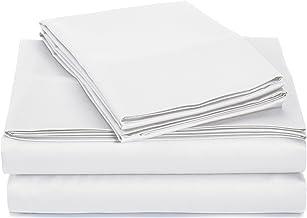 AmazonBasics 400 Thread Count Sheet Set, Full, White