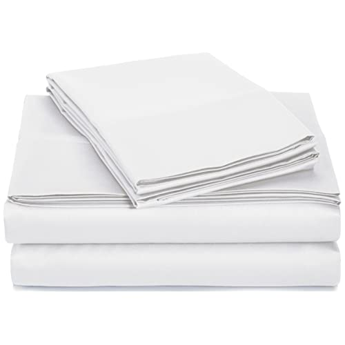 AmazonBasics 400 Thread Count Cotton Sheet Set (Includes 1 Bedsheet, 1 Fitted Sheet with Elastic, 2 Pillow Covers) - King, White