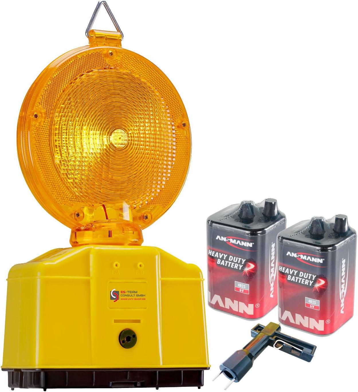 Uvv Baustellenleuchte Led Gelb Warnleuchte Mit Secura Halter Inkl 2 X 6 Volt Ansmann Batterien 9 Ah Und 1 X Lampenschlüssel Gelb Küche Haushalt
