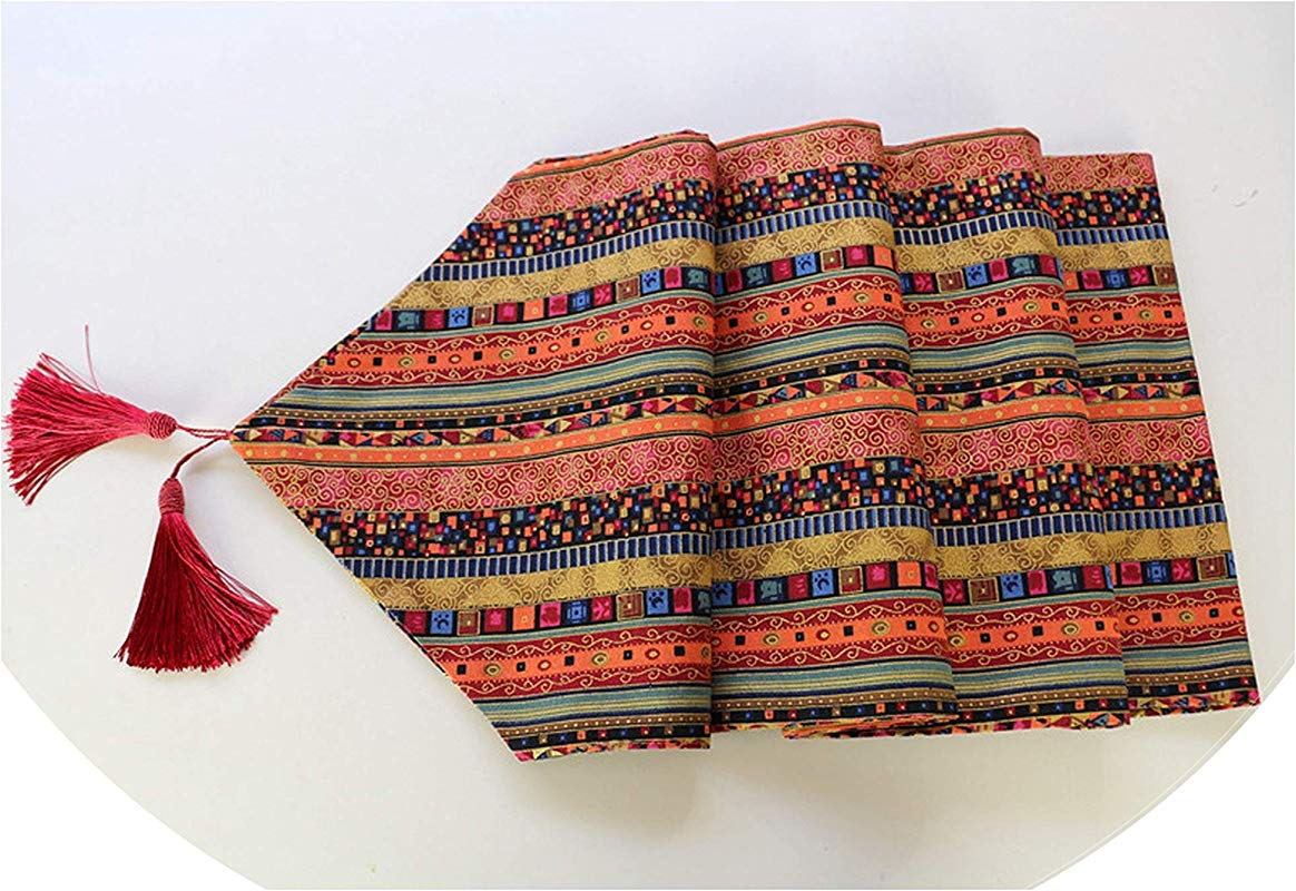Tassels Table Runner Table Cloth Dining Table Mat Coffee Pads Home Decoration Table Cover Home Textile 1600X320Mm Red