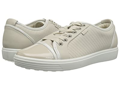 ECCO Soft 7 Cap Toe (Gravel/White Cow Leather) Women