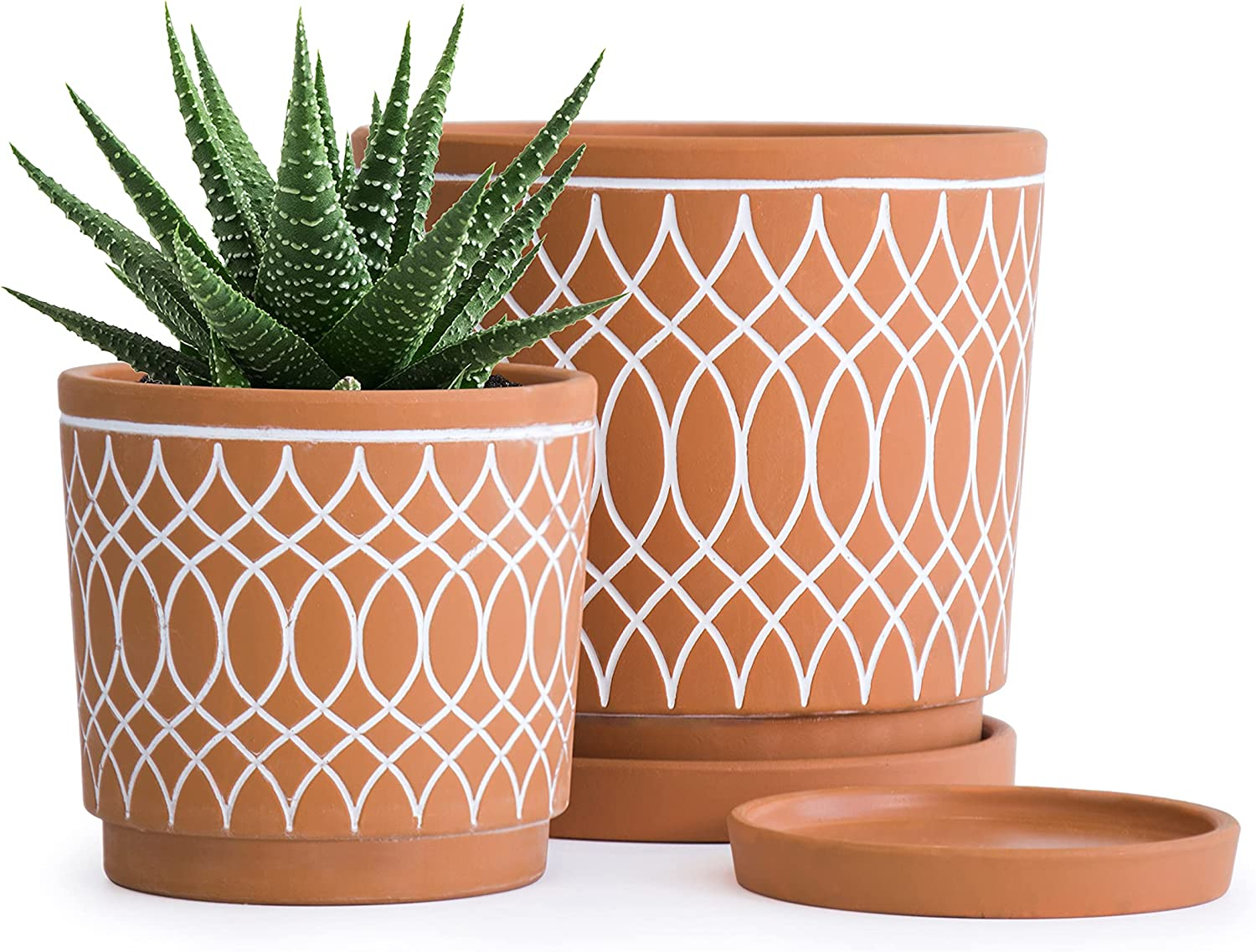 Topics on TV Set Long-awaited of 2 Terracotta Plant pots Design Pattern Line and 4 Inch