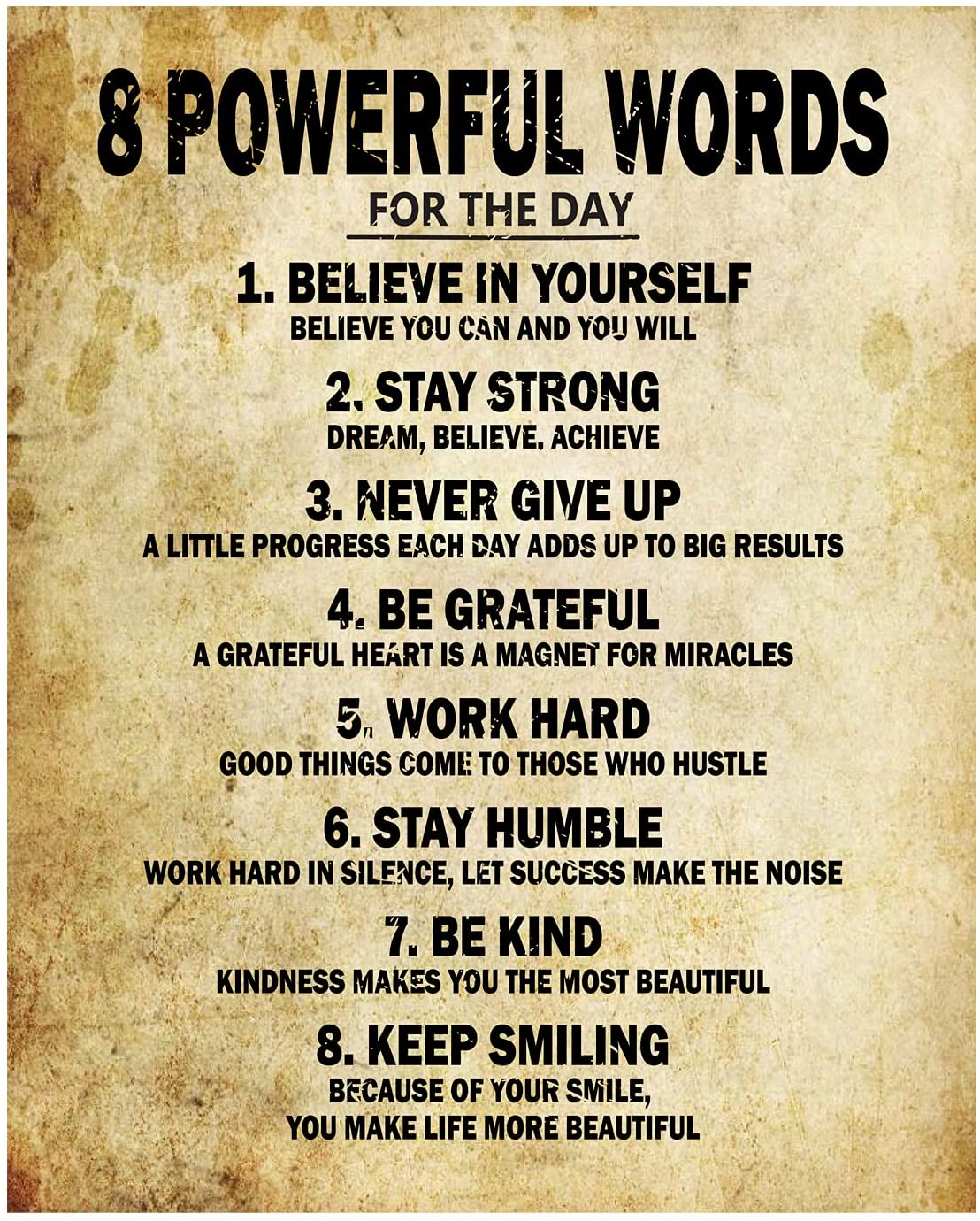 Motivational Quotes 8 Powerful Words for the day Poster Thick Cardstock Paper, Ready to be Framed 8