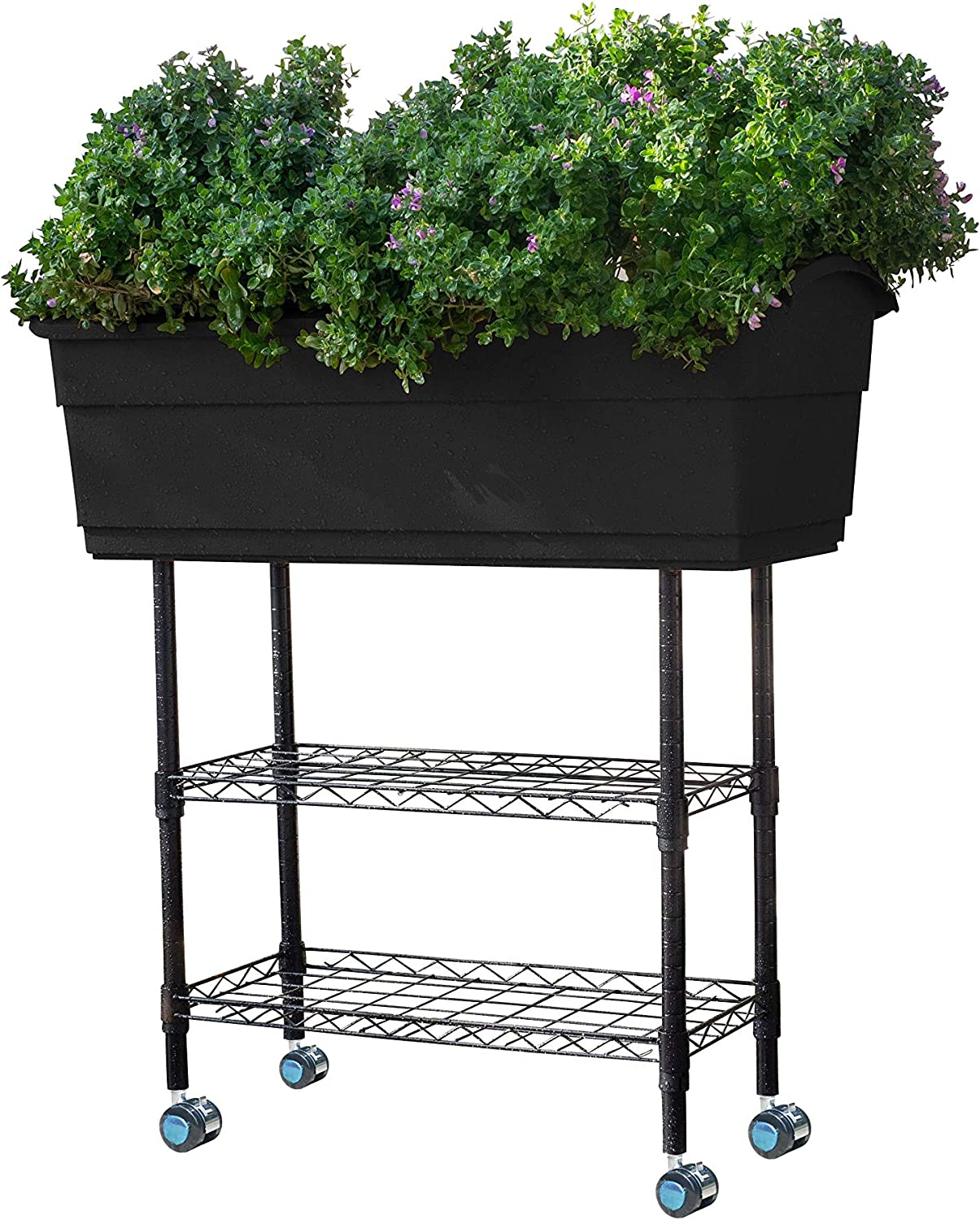 Watex WX161 High quality new Mobile Elevated Garden Max 80% OFF Bed Black Gardening Indoor