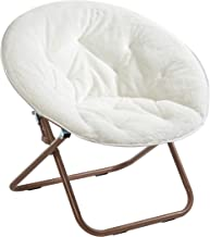 Urban Shop Faux Fur Saucer Chair with Metal Frame, One Size, White