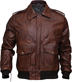Aviator A-2 Air Force Military Bomber Distressed Brown Genuine Leather Jacket for Men
